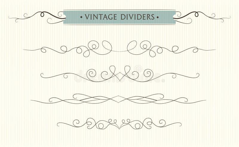 Vector hand drawn flourishes, text divider, graphic design element set. Designer art vintage border Wedding invitation card, page royalty free illustration