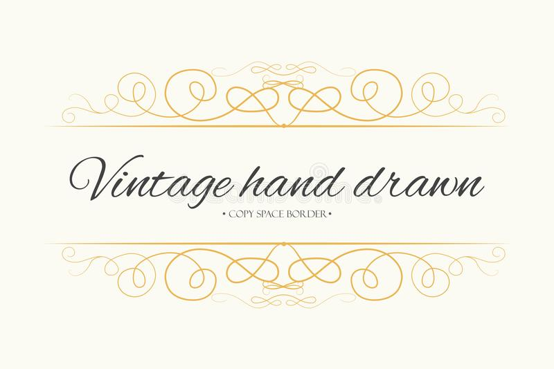 Vector hand drawn flourishes, text divider, graphic design element. Designer vintage golden line border frame. Wedding invitation vector illustration