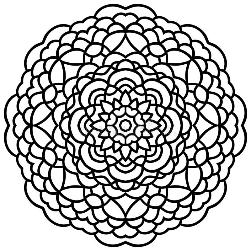 Vector hand drawn flower mandala black outline royalty free illustration