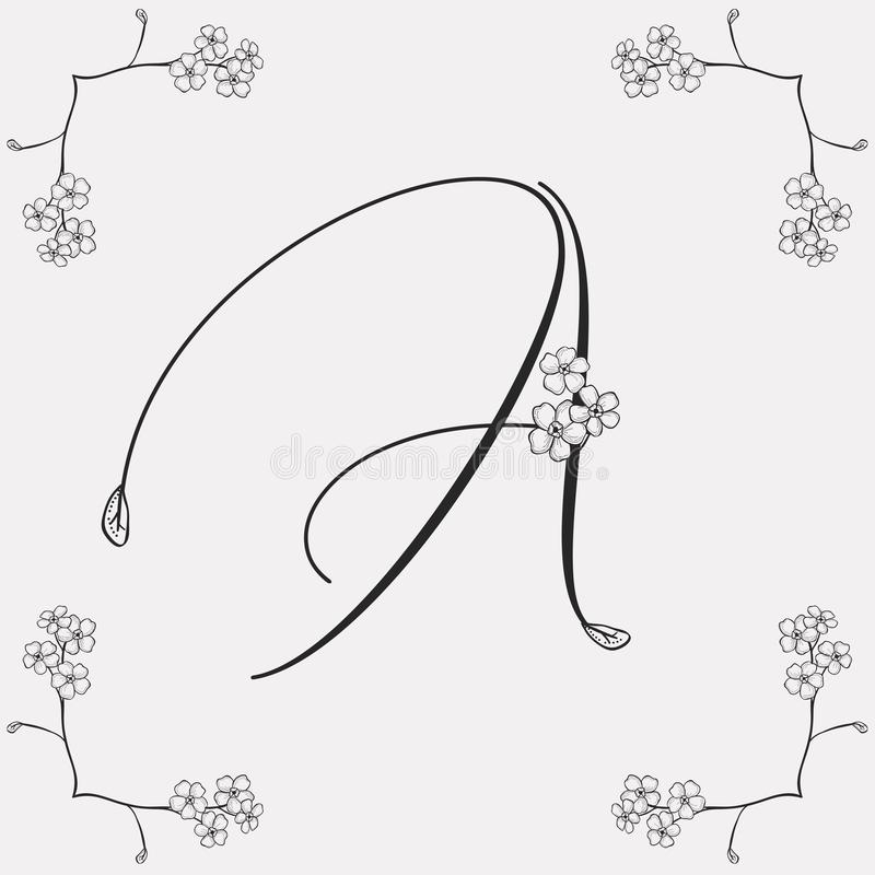 Vector Hand Drawn Flowered A monogram or logo. vector illustration