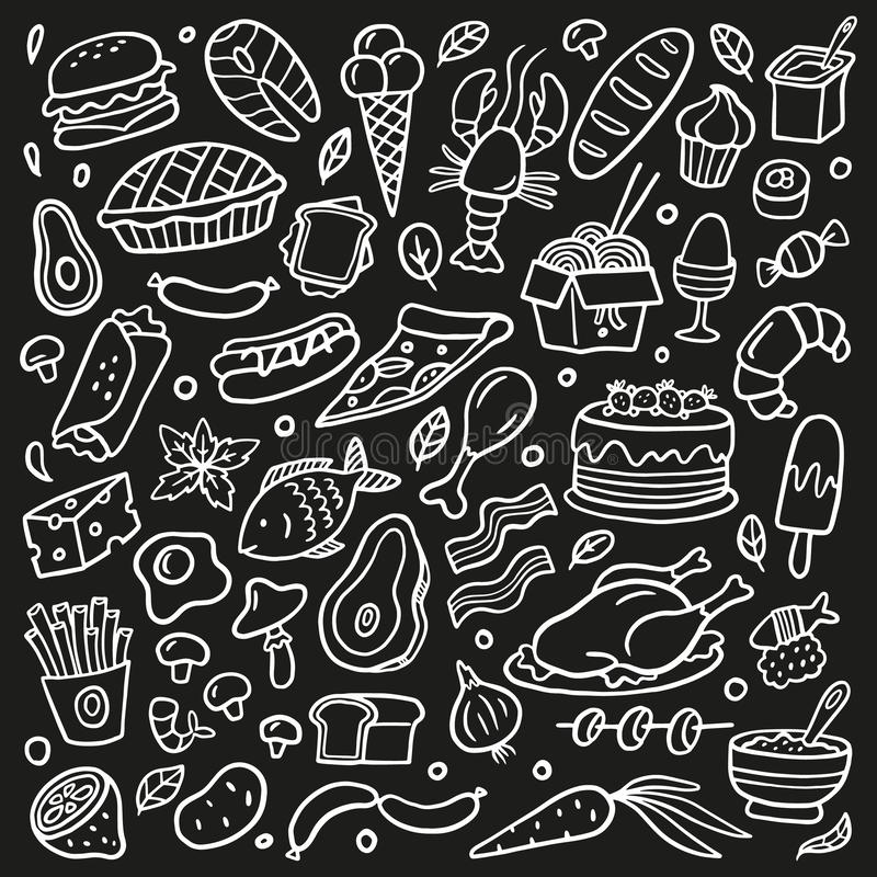 Black and white doodle set with food. Seafood, meat, burgers, noodle, vegetables and sweets. stock illustration