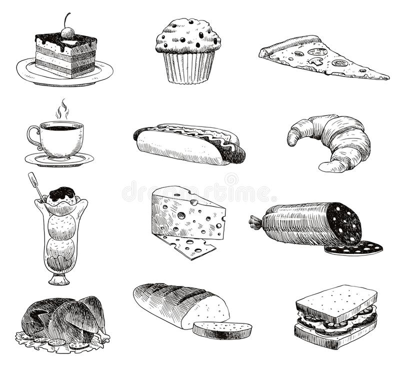 Vector hand drawn food sketch and kitchen doodle. Handdrawn food sketch and kitchen doodle graphic retro cook restaurant. Vector hand drawn food sketch and royalty free illustration