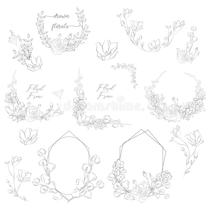 Vector Hand Drawn Frames with Florals and Plants stock illustration