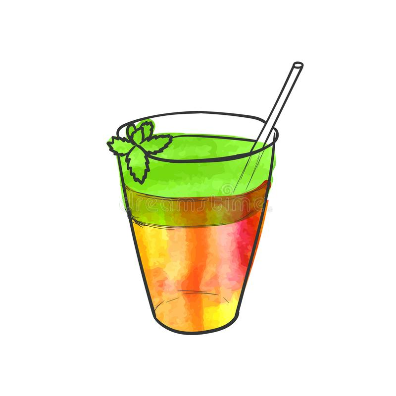 Vector Hand Drawn Glass with Smoothie and Mint Leaf, Watercolor Painting Isolated, Two-layer Cocktail Sketch. vector illustration