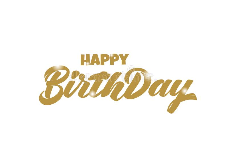 Vector hand drawn gold lettering Happy birthday with 3D sparkles icon for post card, poster, banner, logo, icon, printing. Modern royalty free illustration