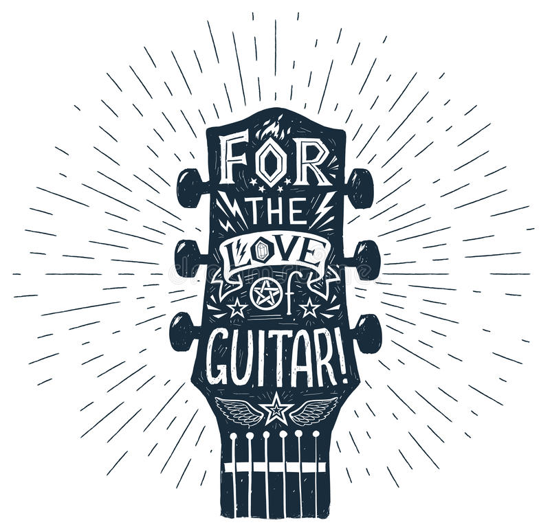 Download Vector Hand Drawn Guitar Fretboard Silhouette With Lettering Inside Stock