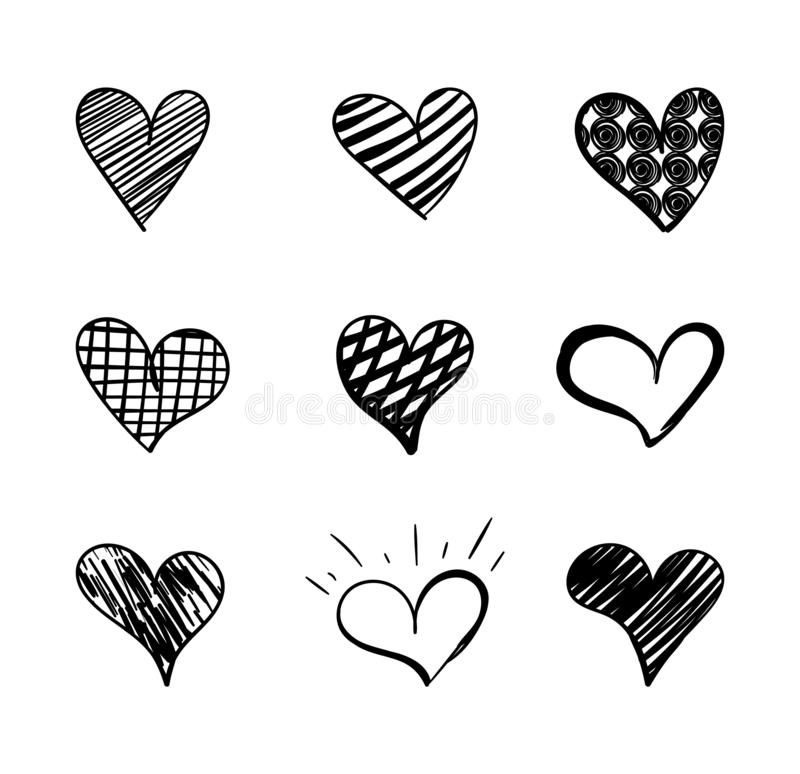 Vector Hand Drawn Hearts Collection, Doodle Cute Design Element, Black Drawings Isolated. vector illustration
