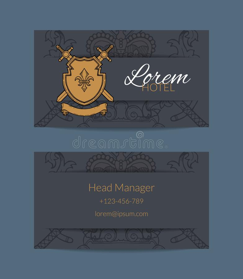 Vector hand drawn heraldics business card for hotel illustration royalty free illustration