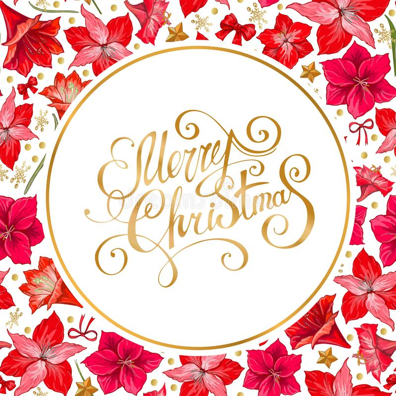Free Vector Hand Drawn Hipeastrum Frame. Suitable For Decoration Greeting Cards For The Christmas And Winter Holidays Stock Photo - 131927830