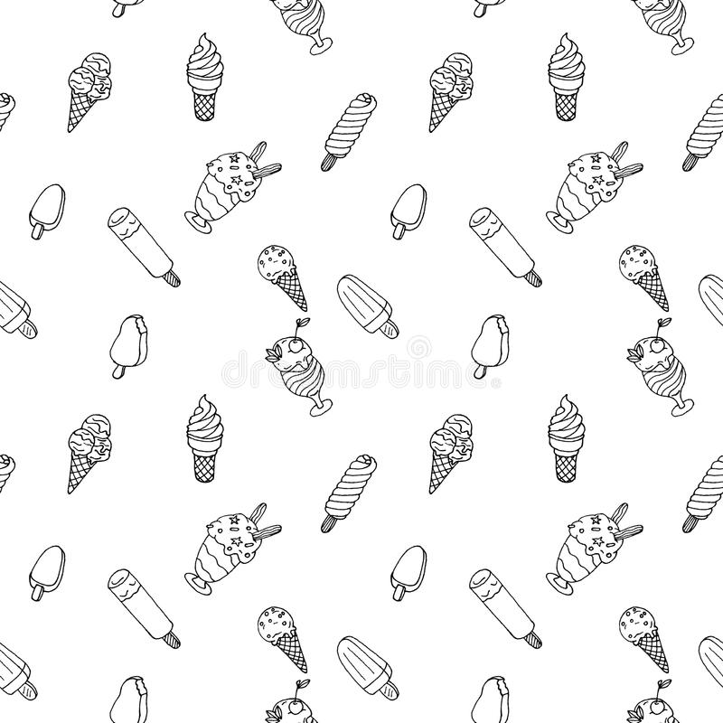 Vector hand drawn ice cream with leaves, berries and candys seam. Less pattern stock illustration