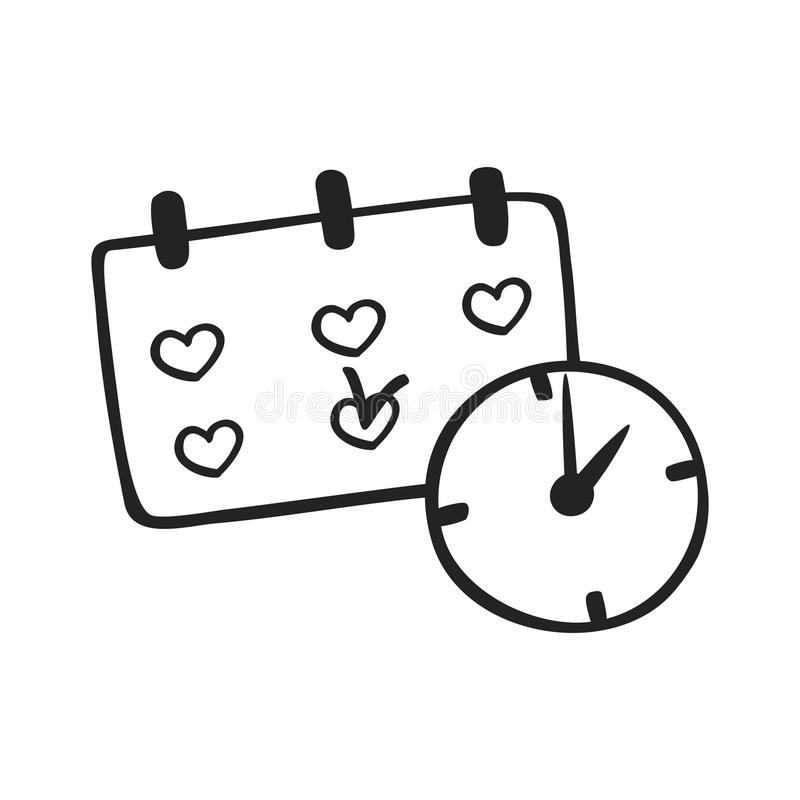 Vector hand drawn icon of schedule stock illustration