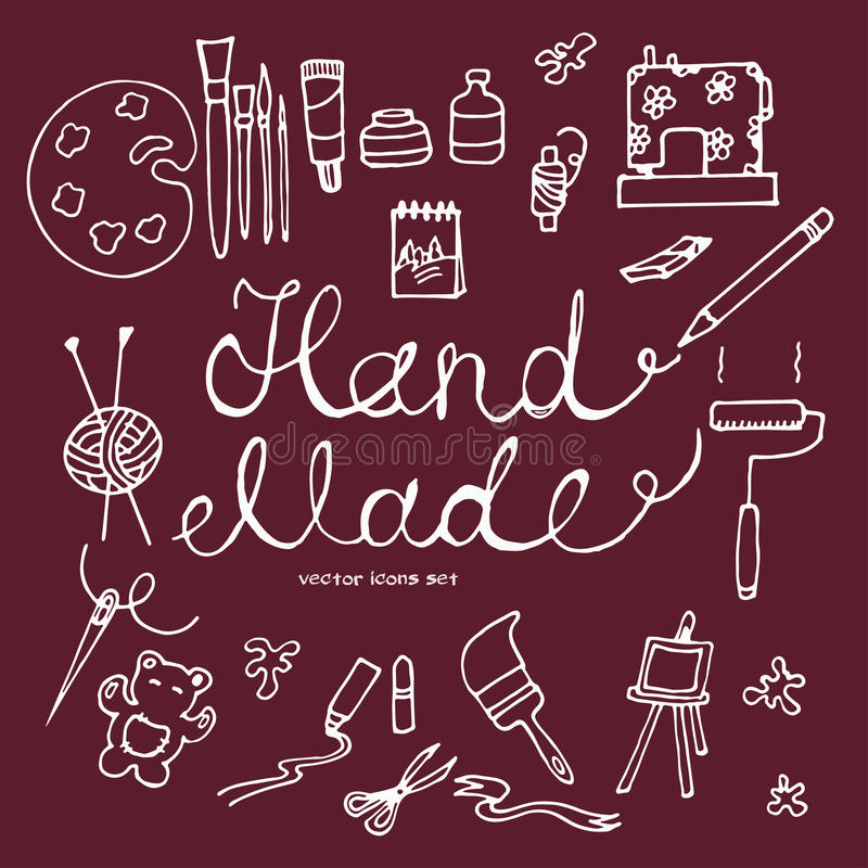 Vector hand drawn icons set of hand made tools stock illustration