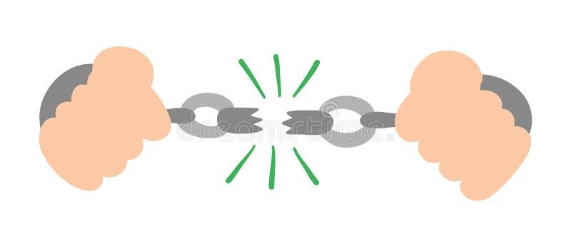 Vector hand-drawn illustratie van gevangene brekende kettingen vector illustratie