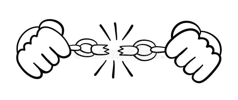 Vector hand-drawn illustratie van gevangene brekende kettingen royalty-vrije illustratie