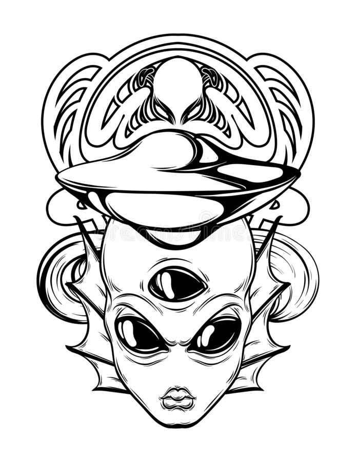 Vector hand drawn illustration of alien with frame isolated. stock illustration