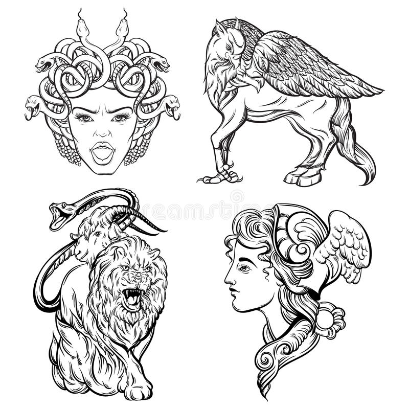Vector hand drawn illustration of antique mythological beasts. Template for card, poster, banner, print for t-shirt,coloring books vector illustration