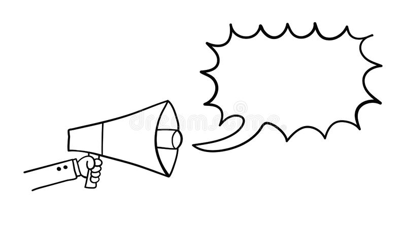 Vector hand-drawn illustration of businessman is holding megaphone and talking royalty free illustration