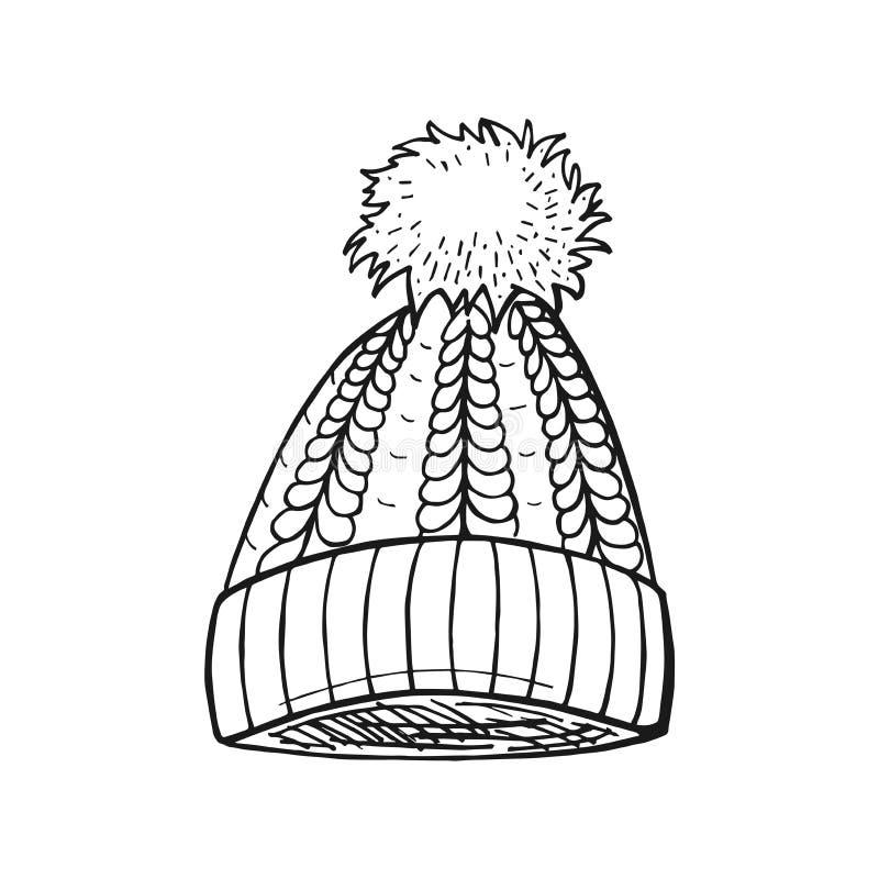 Cable Pompon Hat vector illustration