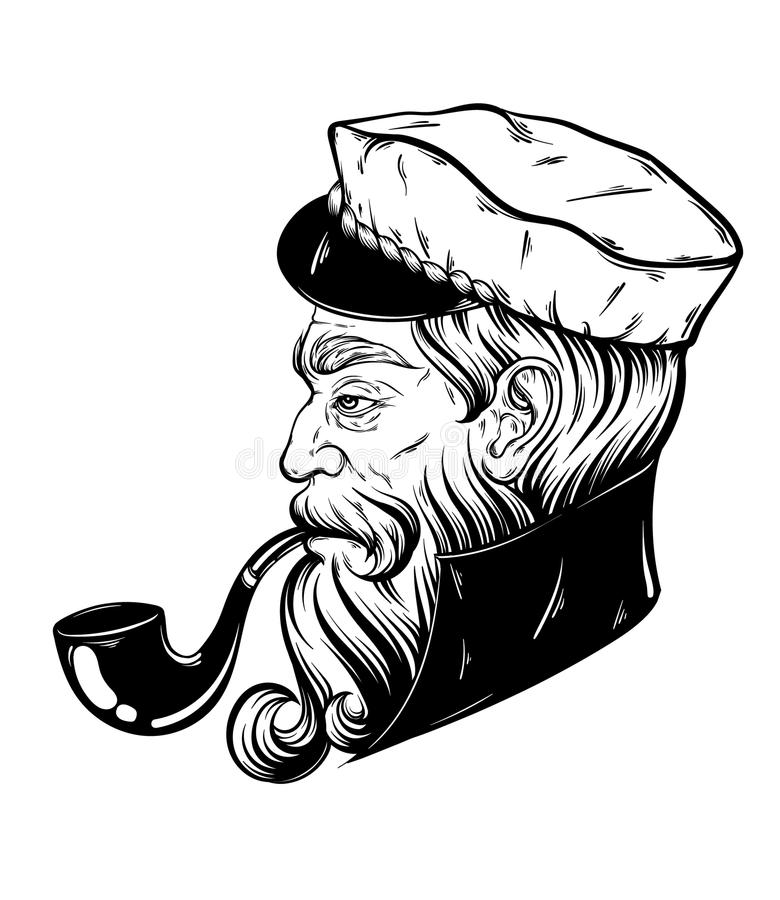 Vector hand drawn illustration of captain with pipe. Tattoo artwork in realistic style. Template for card, poster, banner, print for t-shirt, coloring books stock illustration