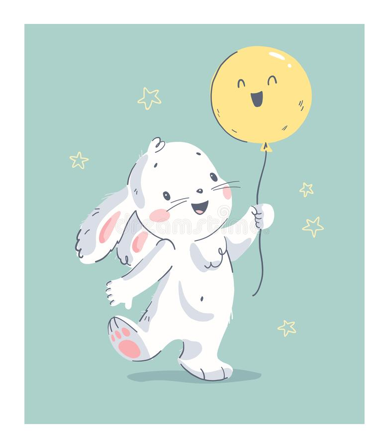 Vector hand drawn illustration with cute little baby rabbit hold air balloon isolated. royalty free illustration