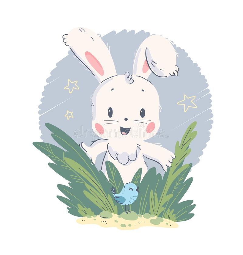 Vector hand drawn illustration with cute little baby rabbit and small bird in grass isolated on white background. stock illustration