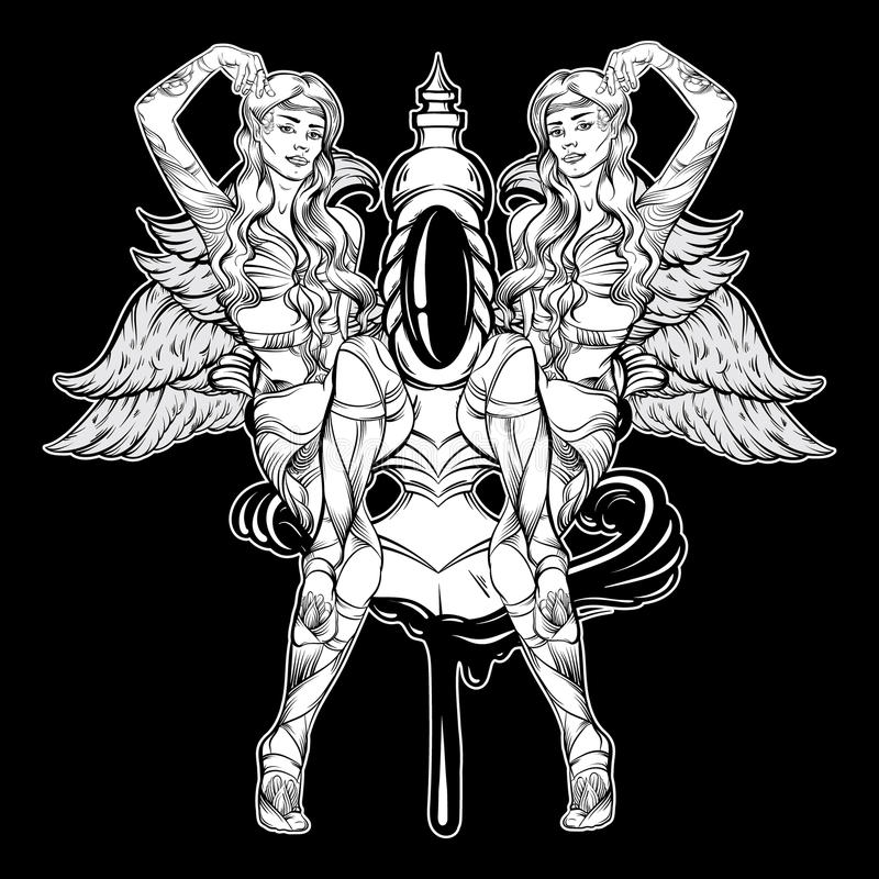 Vector hand drawn illustration of dagger in bleeding wound with beautiful Elves. vector illustration