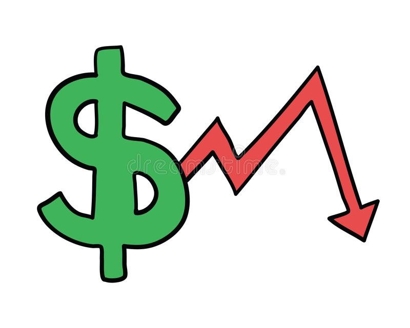 Vector hand-drawn illustration of dollar with arrow moving down vector illustration