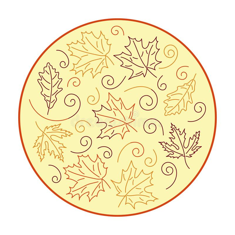 Vector hand drawn illustration, doodle style . Autumn design. Autumn leaves fall Templates for posters stock illustration
