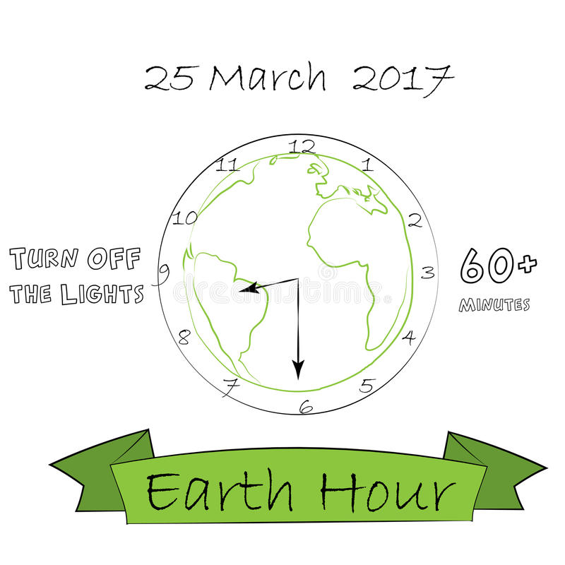 Vector hand drawn illustration for Earth hour 25 March 2017 on white background. Save the planet doodle style design stock illustration