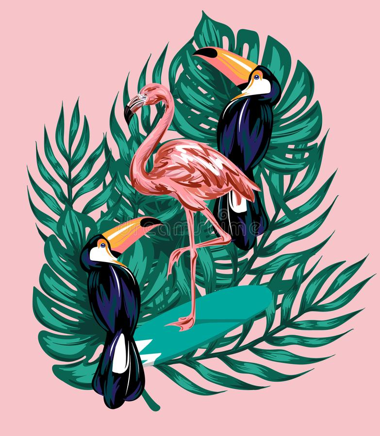Vector hand drawn illustration of flamingo on surfboard, toucans, palm leaves. stock illustration