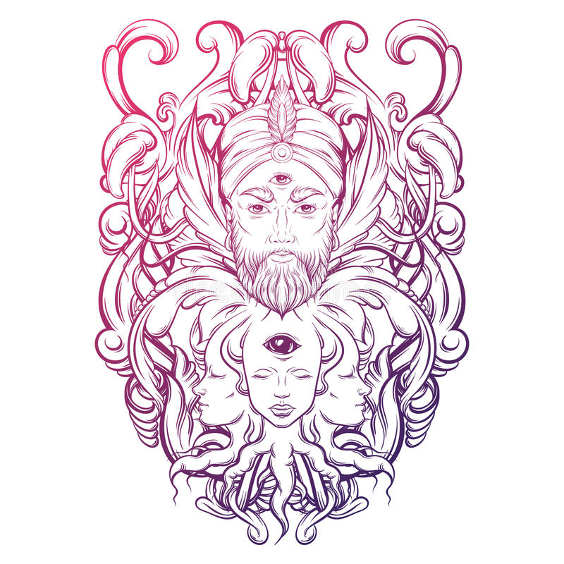 Vector hand drawn illustration of fortune teller with three eyes. stock illustration