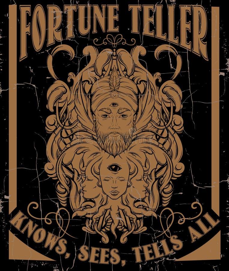 Vector hand drawn illustration of fortune teller vector illustration