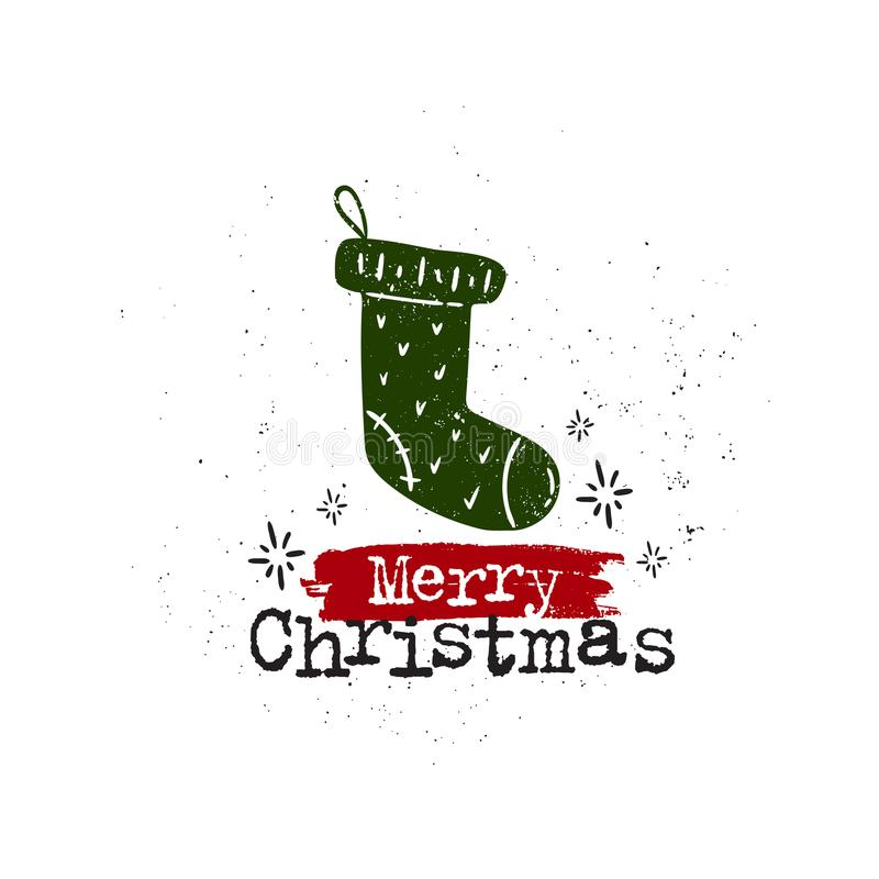 Merry christmas sock. Vector hand drawn illustration. Happy Merry Christmas, holidays, sock. Idea for poster, postcard royalty free illustration