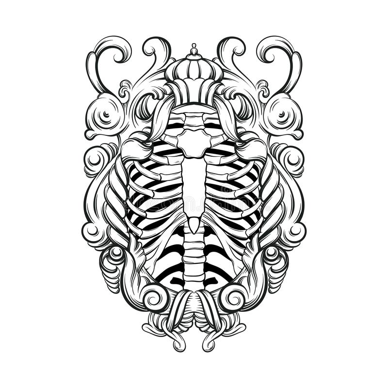 Vector hand drawn illustration of human ribs with baroque frame isolated. stock illustration