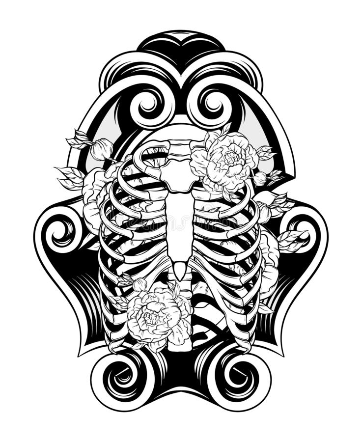 Vector hand drawn illustration of human ribs with flowers in frame. Creative realistic tattoo artwork. Template for card, poster, banner, print for t-shirt stock illustration