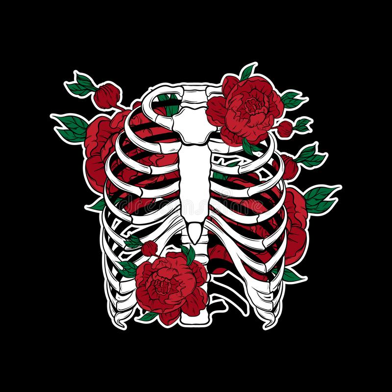Vector hand drawn illustration of human ribs with flowers isolated. Template for card, poster, banner, print for t-shirt, pin, badge, patch stock illustration