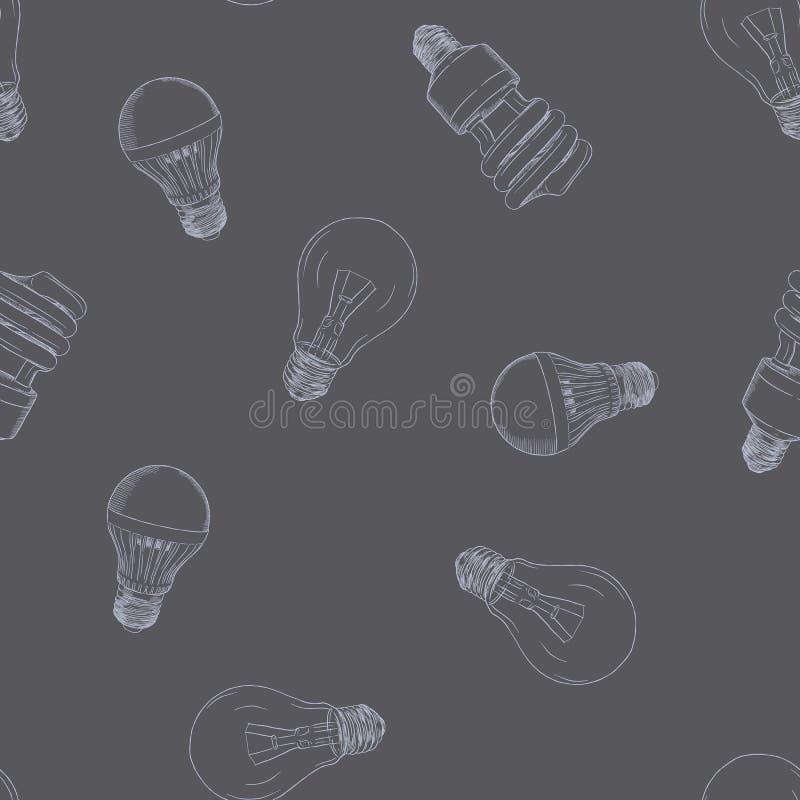 Vector hand drawn illustration of the light bulb seamless patter stock illustration