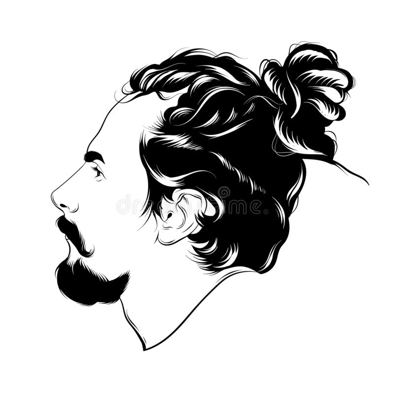 Vector hand drawn illustration of man with dreadlocks and beard isolated. Tattoo artwork. Template for card, poster. banner, print for t-shirt, pin, badge vector illustration
