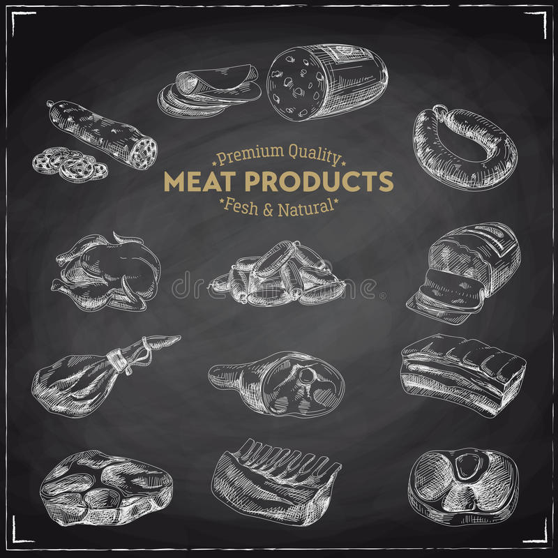 Vector hand drawn Illustration with meat products. royalty free illustration
