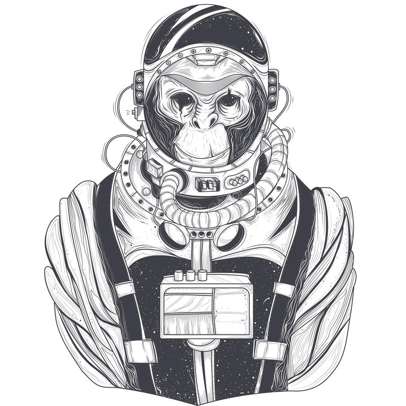 Vector hand drawn illustration of a monkey astronaut, chimpanzee in a space suit royalty free illustration