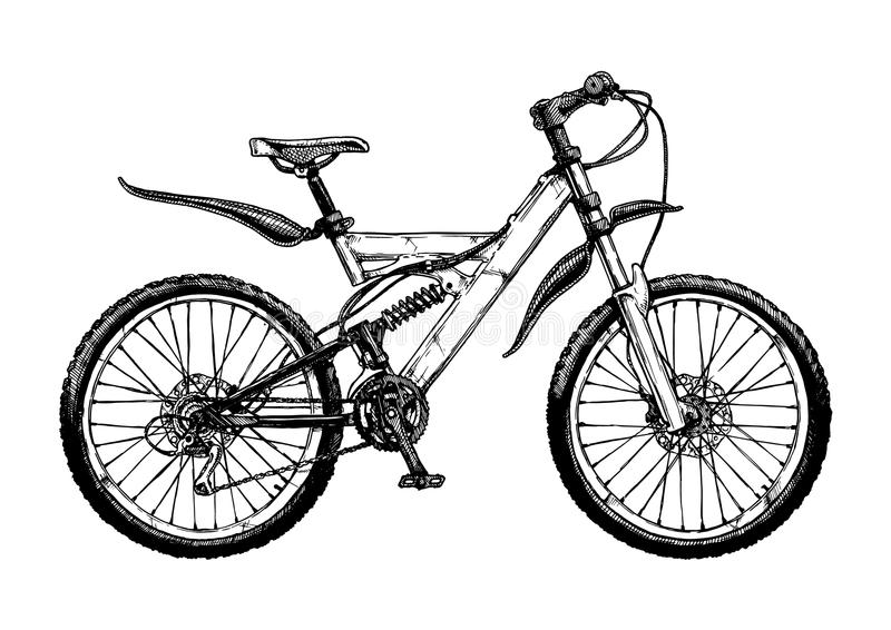 Illustration of mountain bicycle royalty free illustration