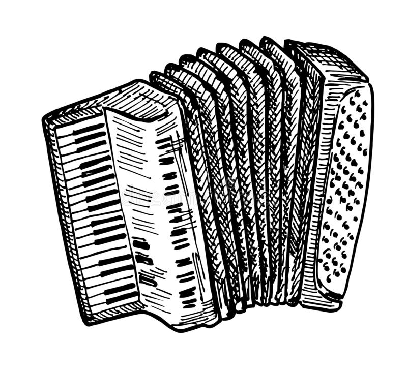 Vector hand drawn illustration of Piano accordion Sketch. Vector hand drawn illustration of Piano accordion in vintage engraved style. Isolated on white vector illustration