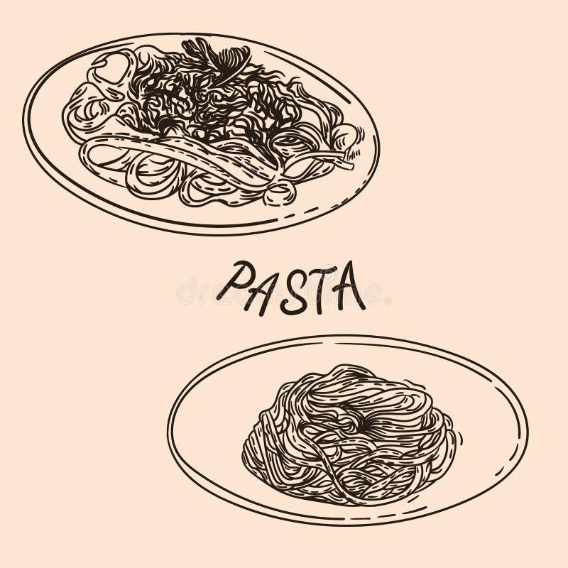 Plates of pastas 1 vector illustration