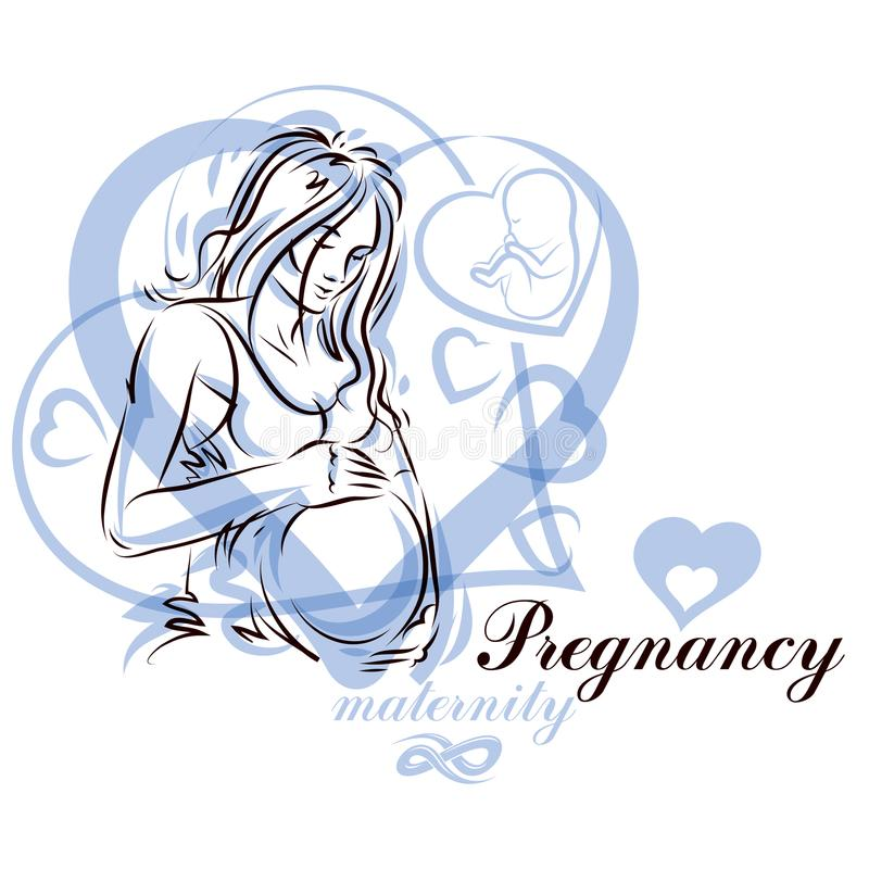 Vector hand-drawn illustration of pregnant elegant woman expecting baby, sketch. Mothers day conceptual poster stock illustration