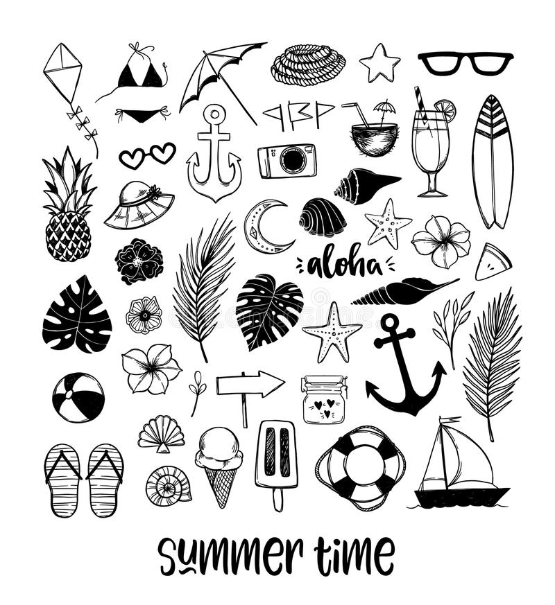 Vector hand drawn illustration. Sketch style. Summer set with tr stock illustration