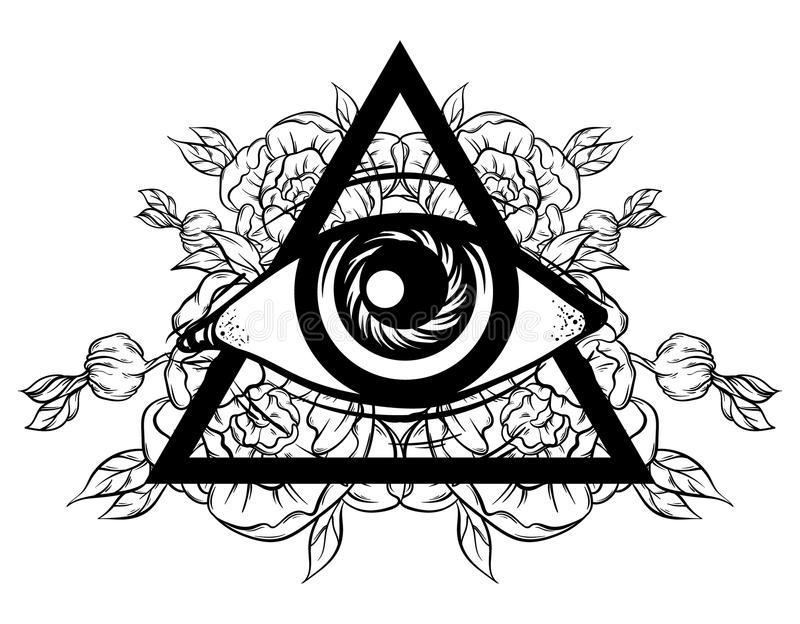 All Seeing Eye Pyramid Symbol With Flowers New World Order Hand Drawn Of Providence Alchemy Religion Spirituality Occultism Tattoo Art