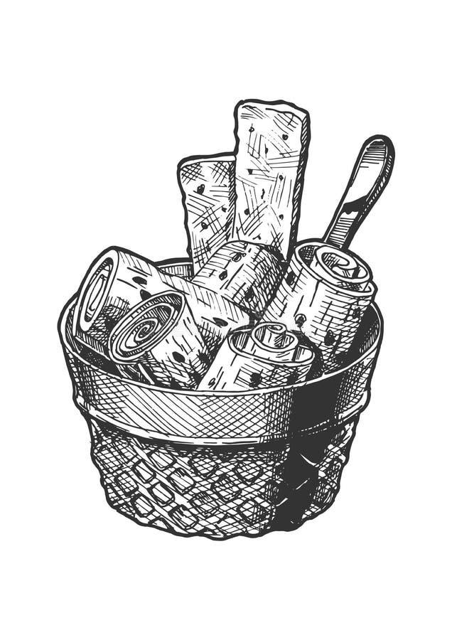 Stir-fried ice cream stock illustration