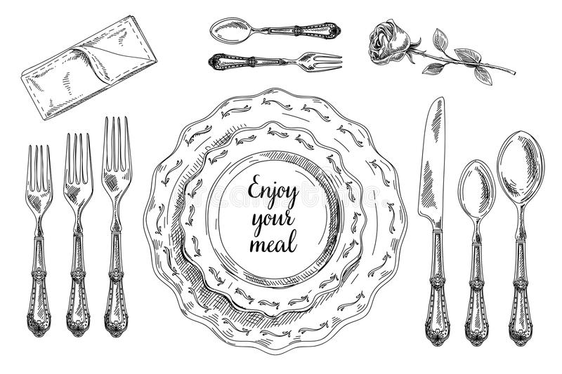 Download Vector Hand Drawn Illustration With Table Setting Stock Vector - Illustration of flatware service  sc 1 st  Dreamstime.com & Vector Hand Drawn Illustration With Table Setting Stock Vector ...