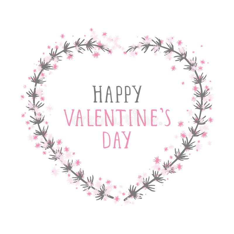 Vector hand drawn illustration of text HAPPY VALENTINE`S DAY and floral frame in the shape of a heart. Vector hand drawn illustration of text HAPPY VALENTINE`S royalty free illustration