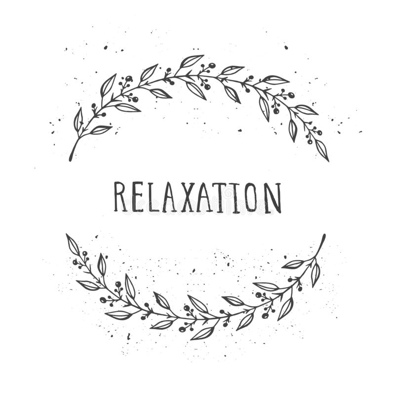 Vector hand drawn illustration of text RELAXATION and floral round frame royalty free illustration